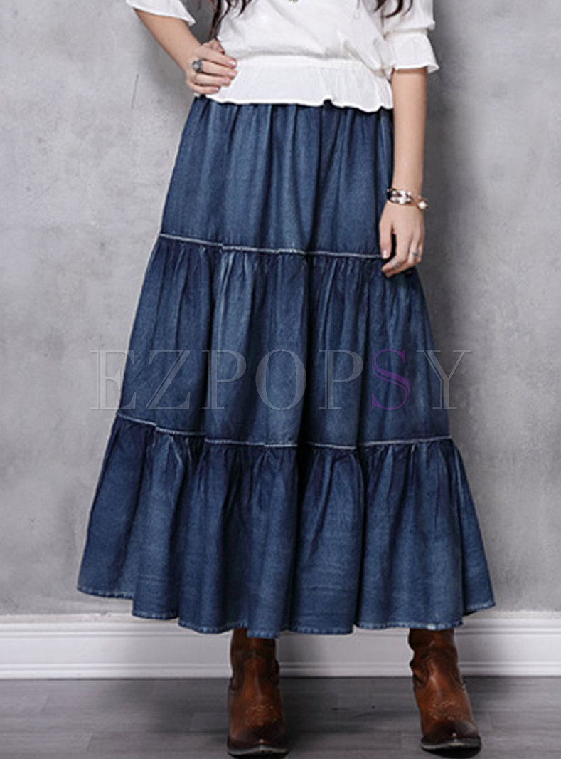 High Waisted A Line Denim Long Skirt