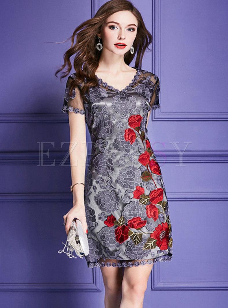 V-neck Mesh Embroidered Mini Bodycon Dress