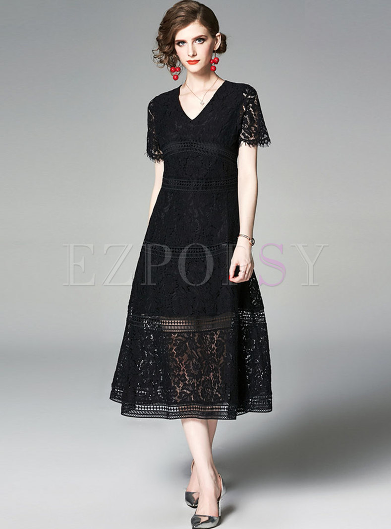 V-neck Short Sleeve Openwork Lace Party Dress
