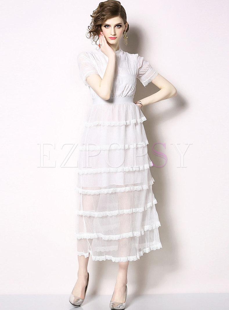 White Crew Neck Mesh Lace Party Maxi Dress