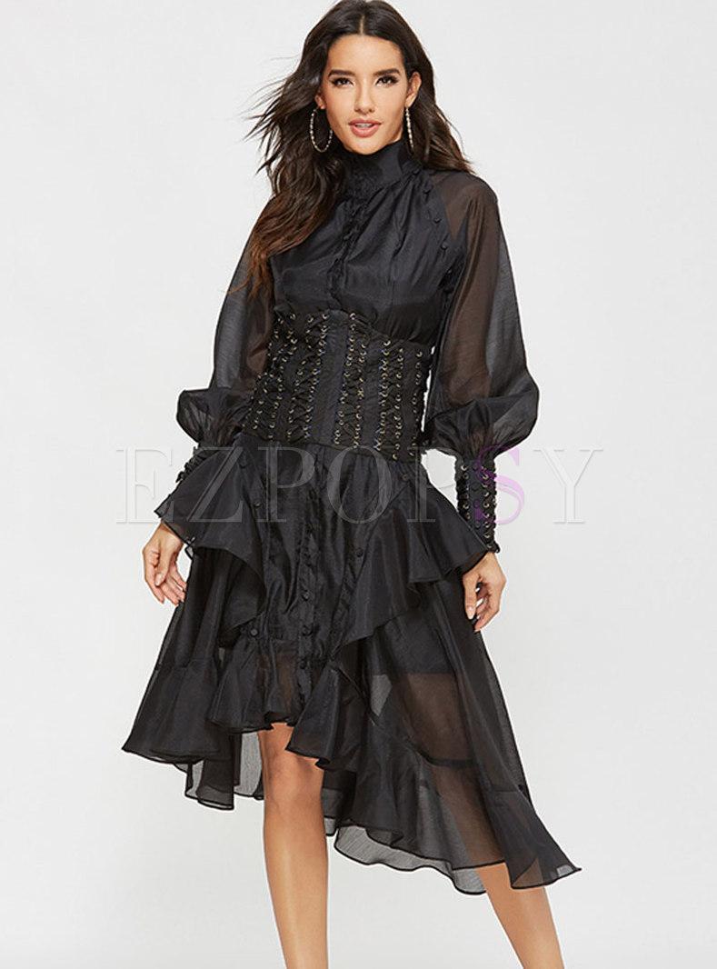 Turtleneck Lantern Sleeve Asymmetric Party Dress