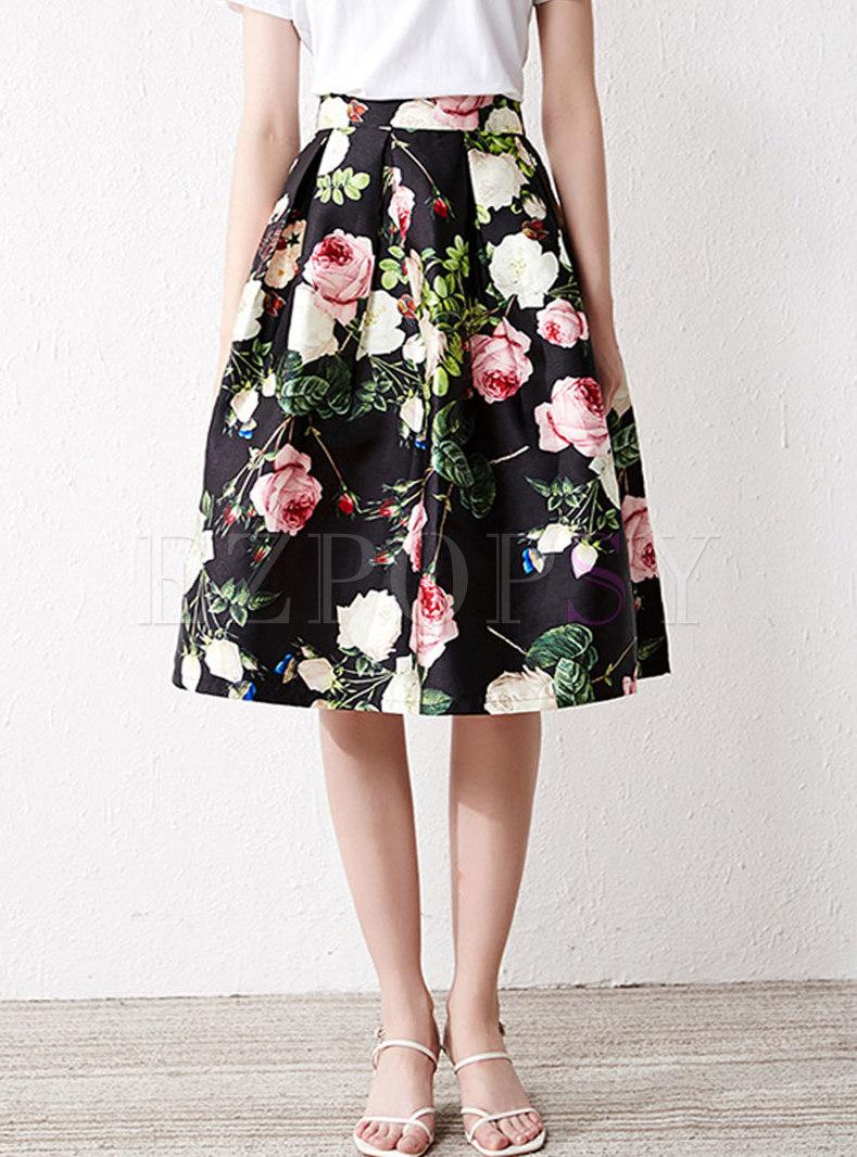 High Waisted Print A Line Skirt