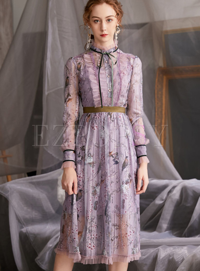 Long Sleeve Mesh Lace Patchwork Print Dress