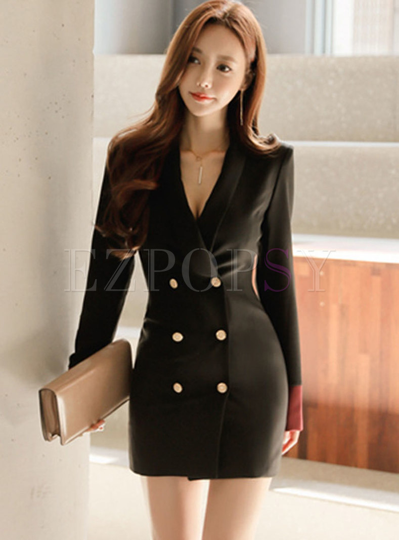 Solid Color Notched Office Bodycon Mini Dress