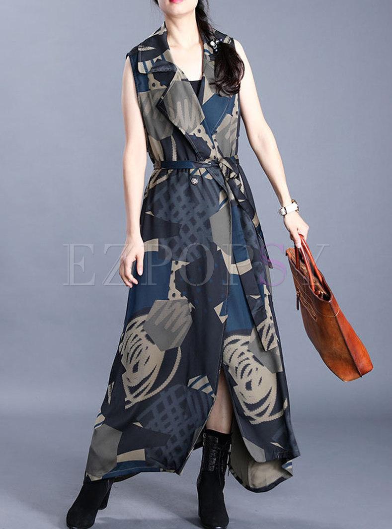 Notched Sleeveless Irregular Print Long Vest