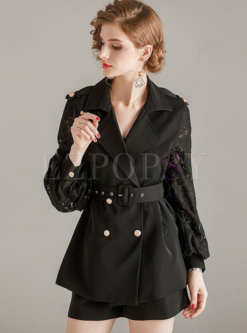Black Lace Patchwork Work Short Pant Suits