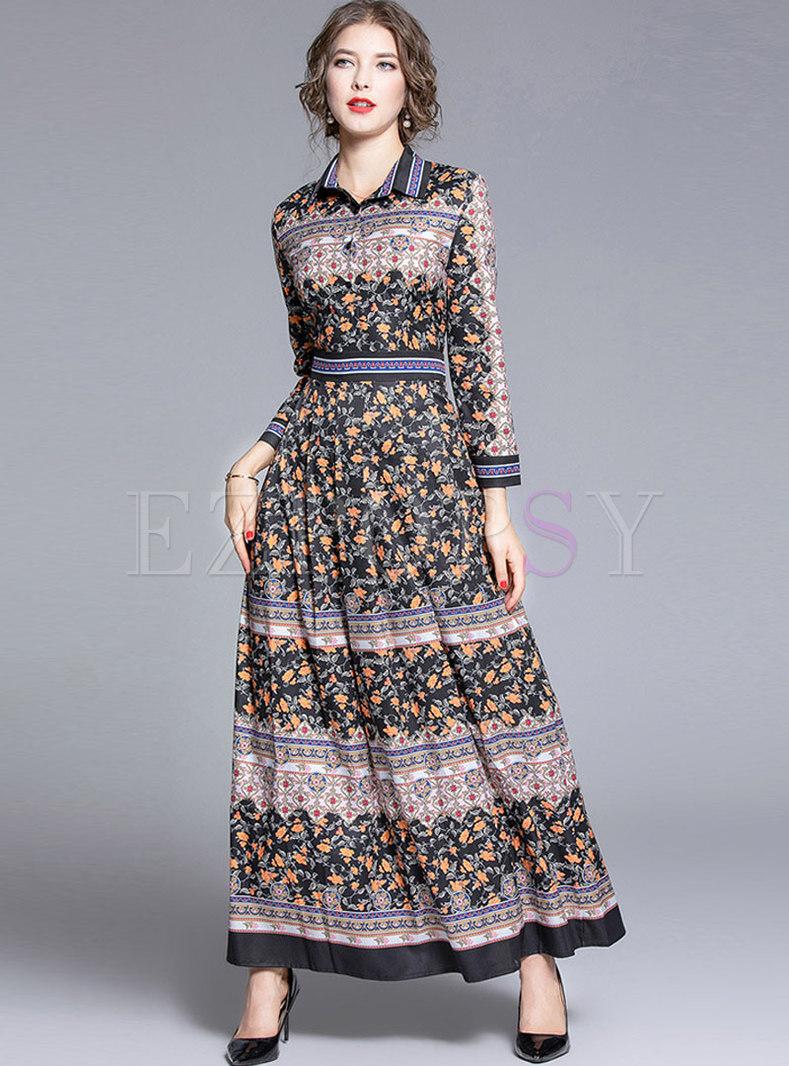 Lapel Floral A Line Formal Maxi Dress