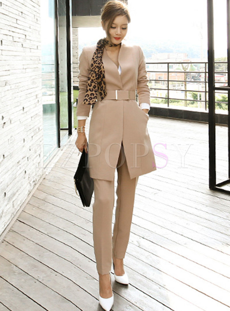 Solid Color V-neck Slim Work Pant Suits
