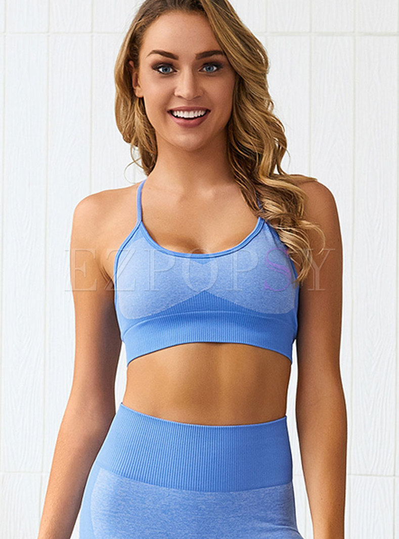 Color-blocked Scoop Sleeveless Workout Bra