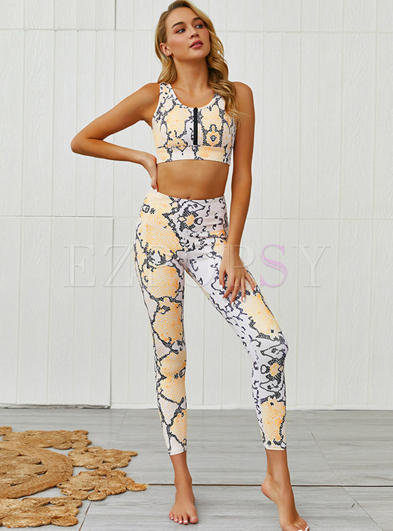 Leopard Sleeveless Backless Fitness Tracksuit