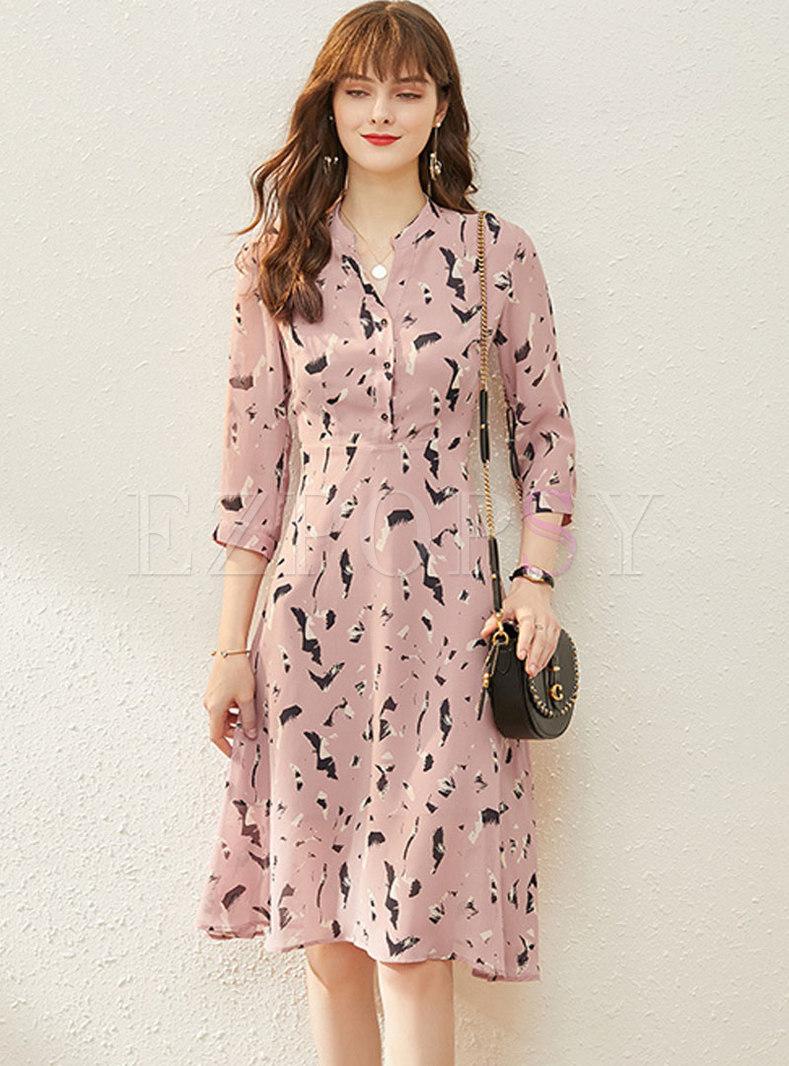 Print High Waisted A Line Chiffon Dress