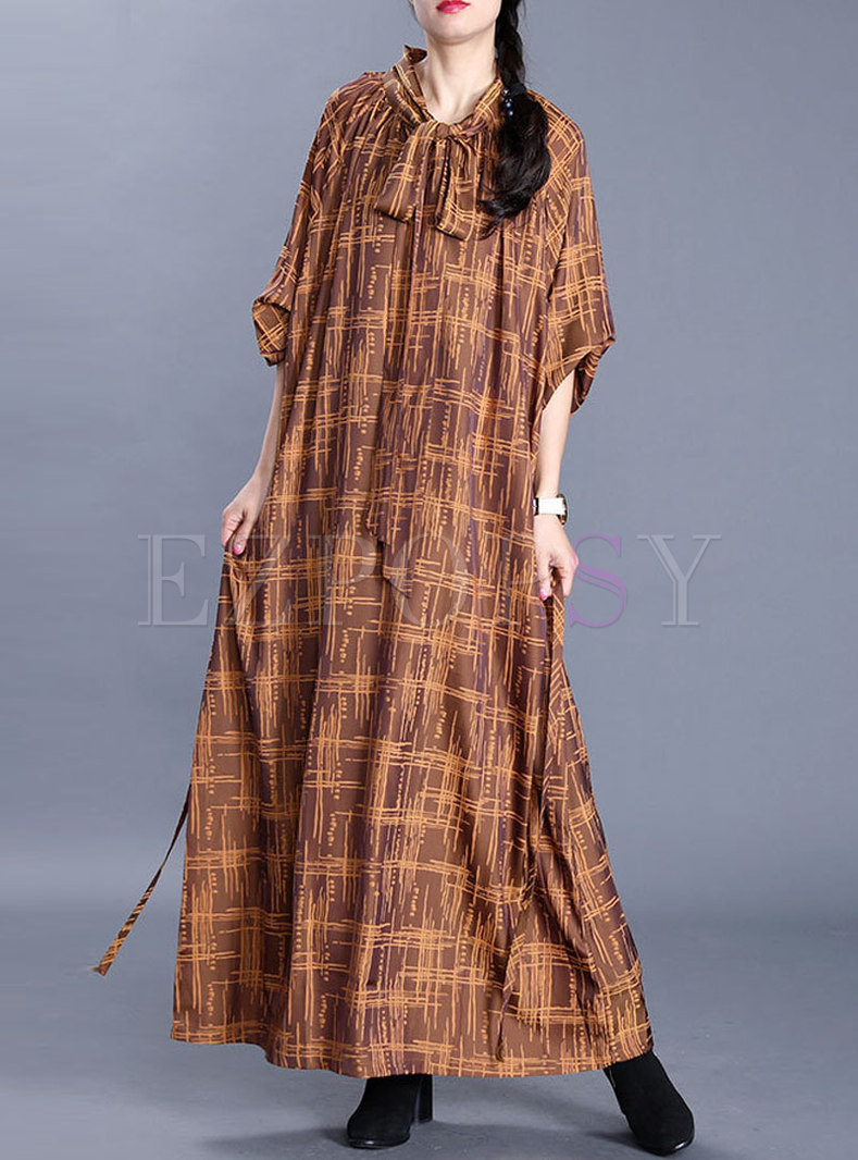 Plus Size Plaid Shift Maxi Dress