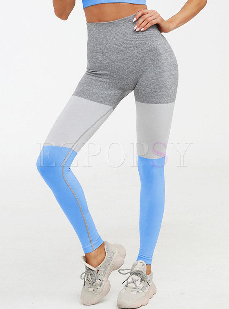 High Waisted Color-blocked Slim Yoga Pants