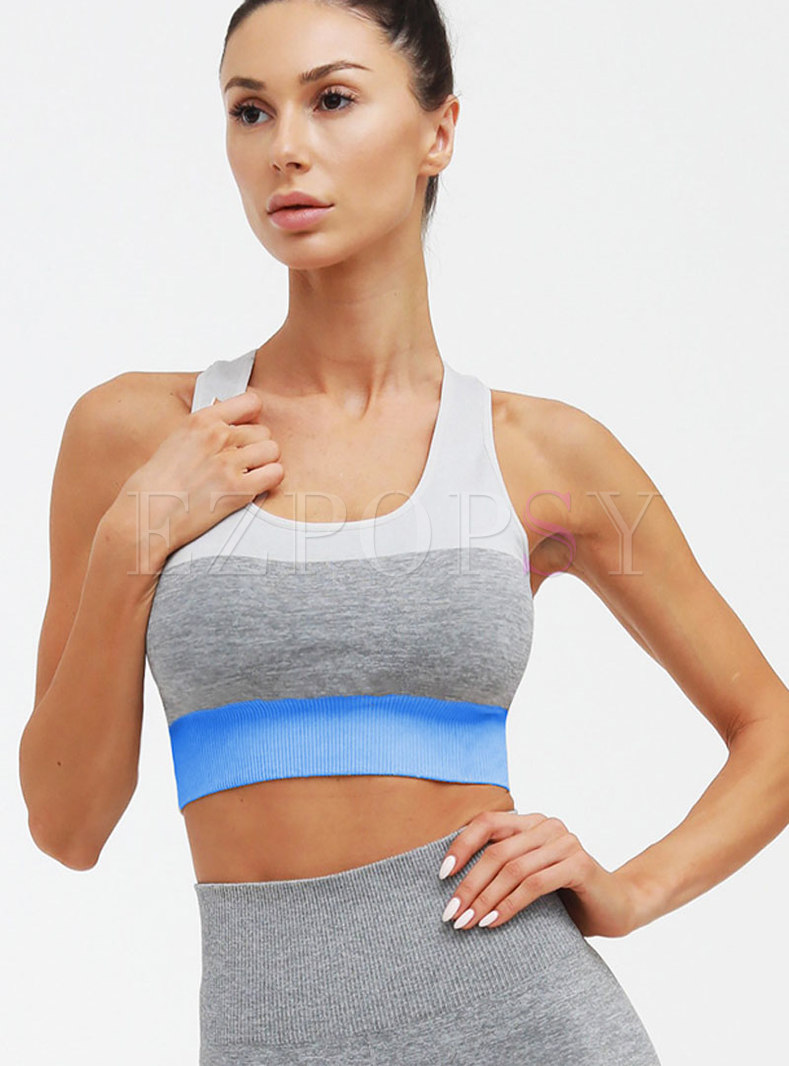 Color-blocked Backless Tight Workout Bra