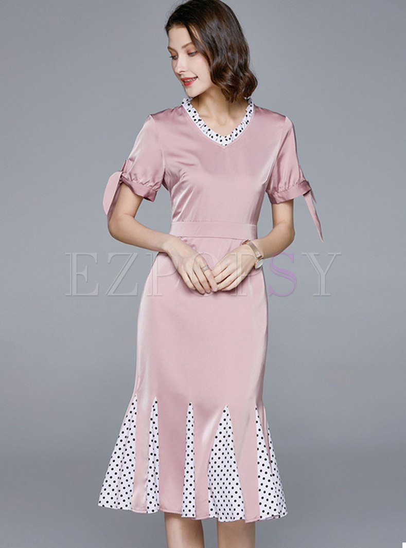 V-neck Short Sleeve Peplum Bodycon Dress