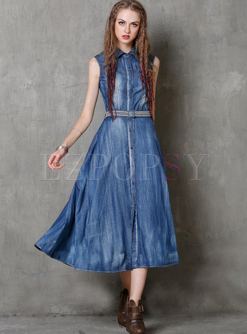 Lapel Sleeveless Big Hem Denim Maxi Dress