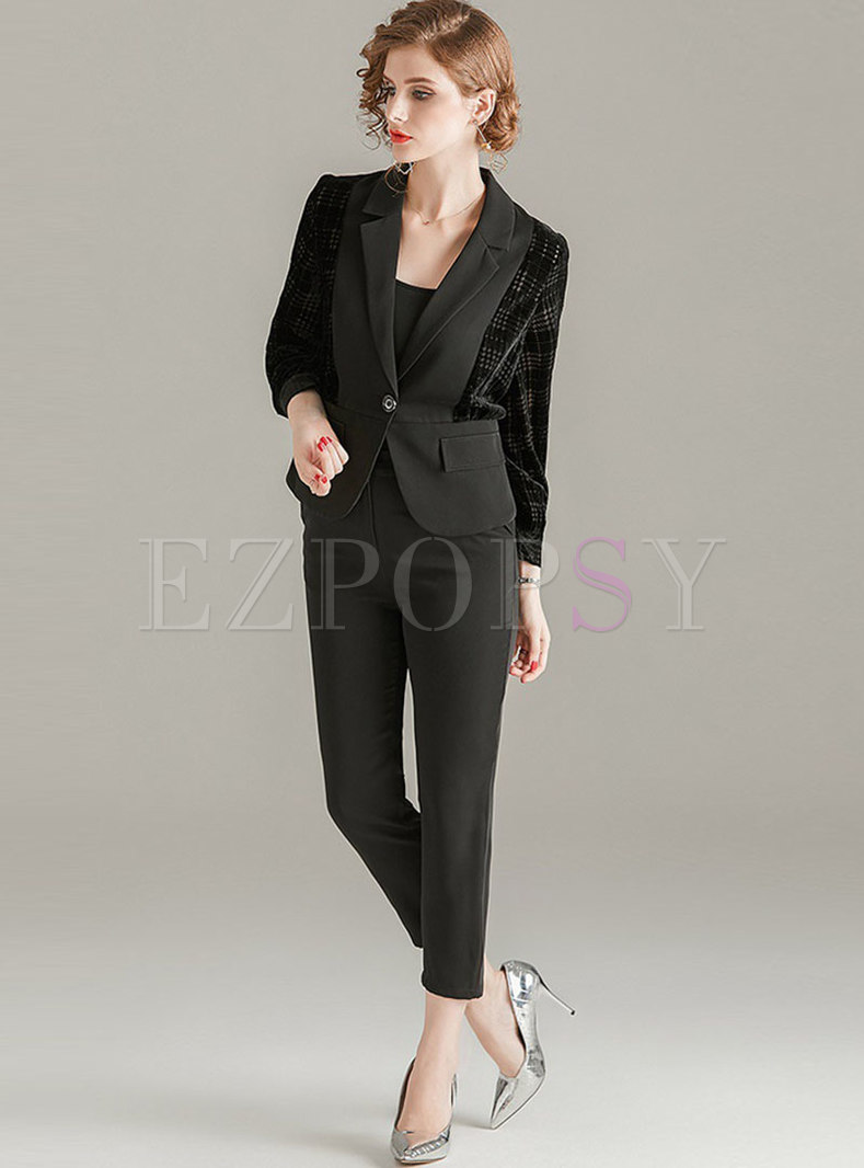 Black Notched Patchwork Slim Work Pant Suits