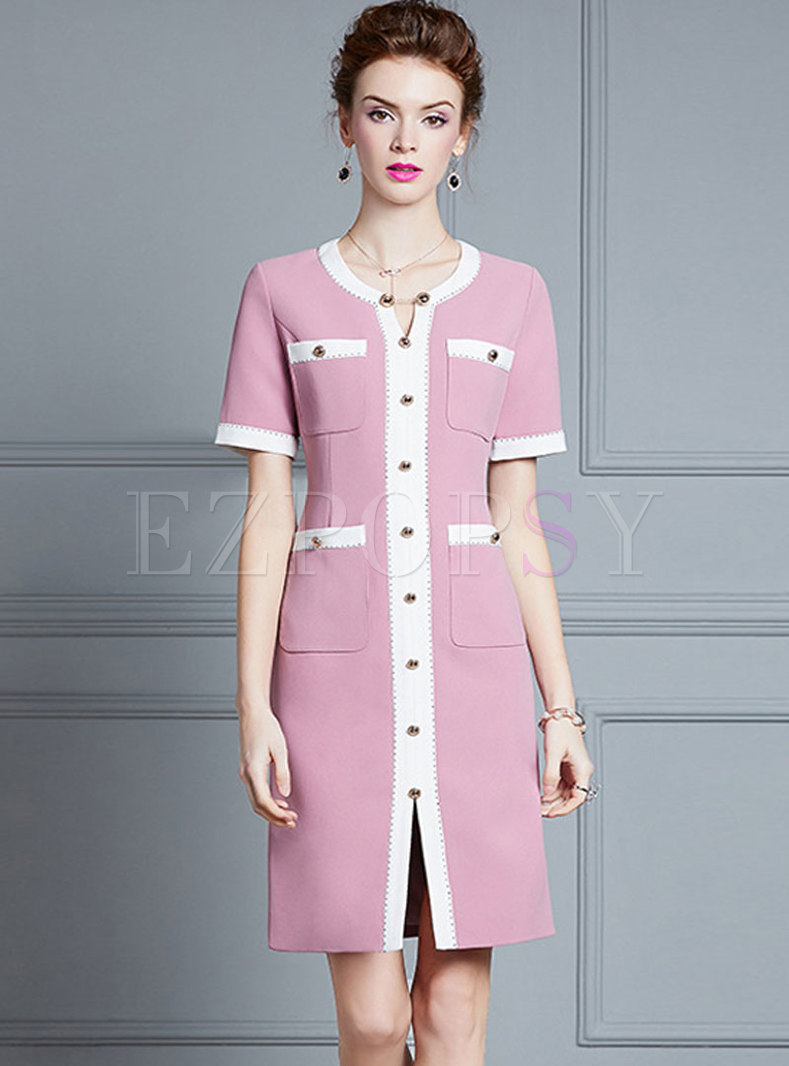Color-blocked Crew Neck Patchwork Slim Dress