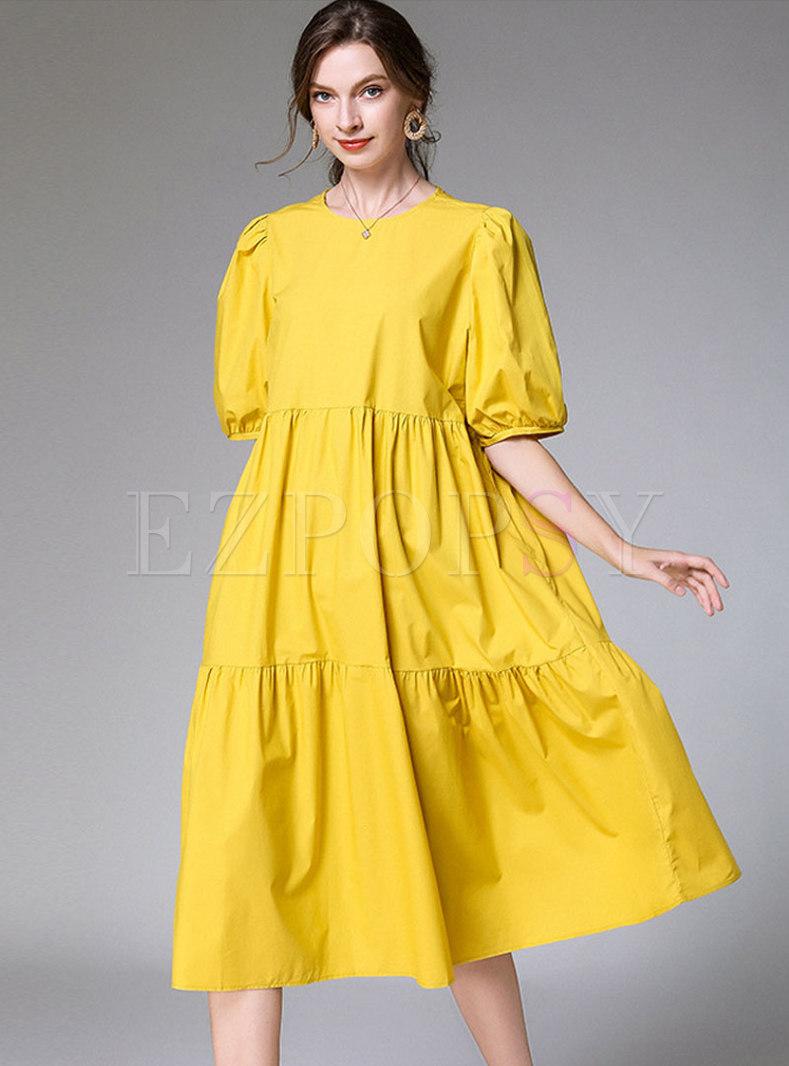 Plus Size Solid Color Shift Midi Dress