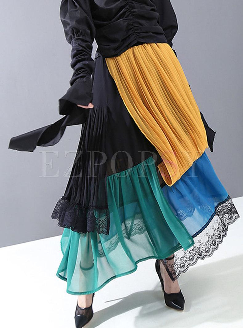 Color-blocked Patchwork Chiffon Maxi Skirt