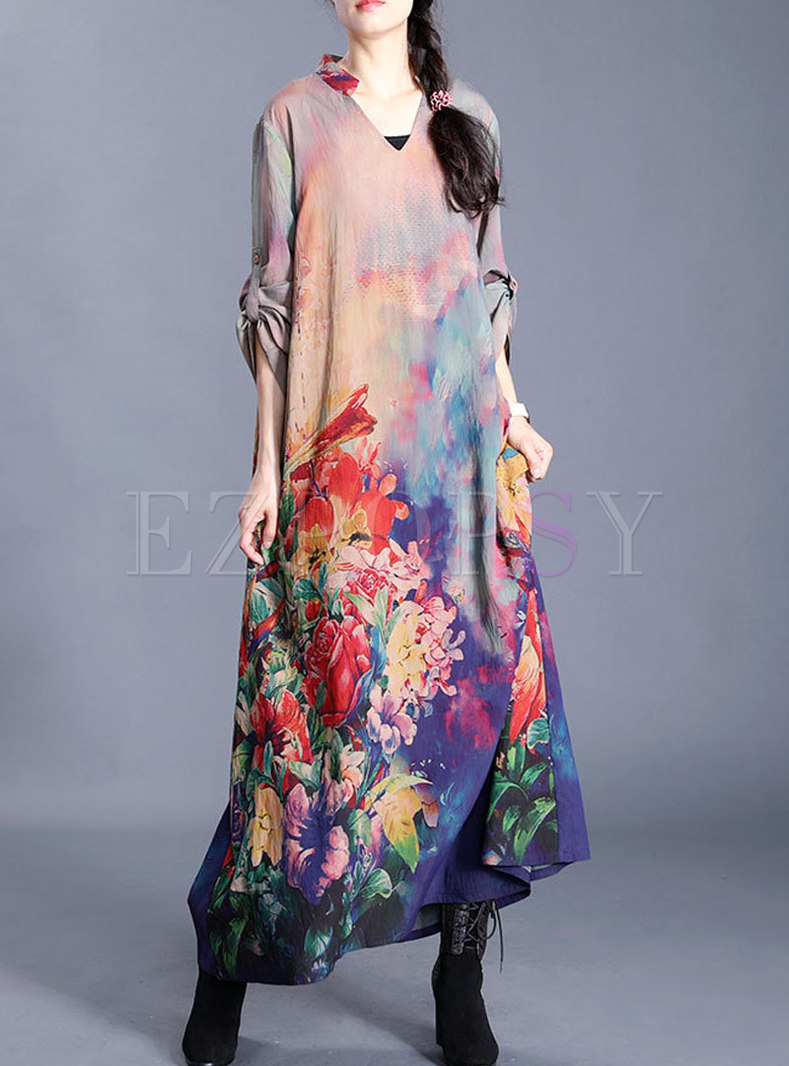 Plus Size Print Loose Shift Maxi Dress