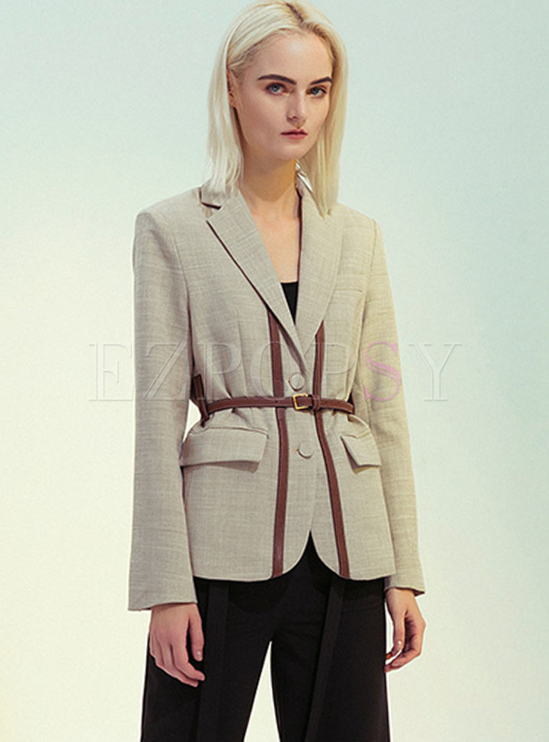 Notched Long Sleeve Belted Slim Blazer