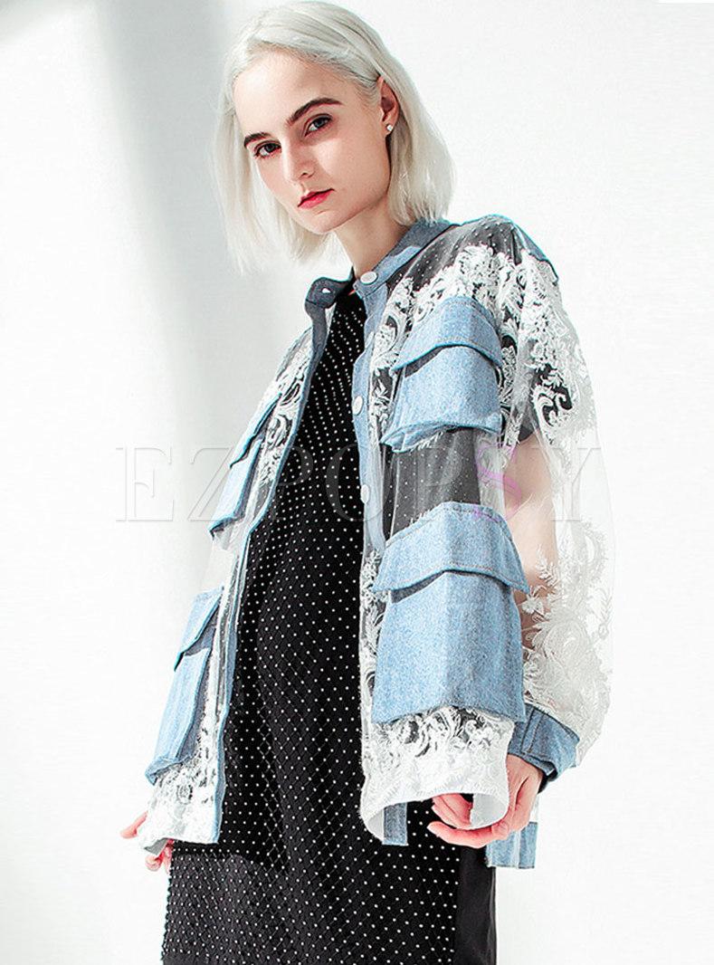 Mock Neck Lace Patchwork Denim Coat