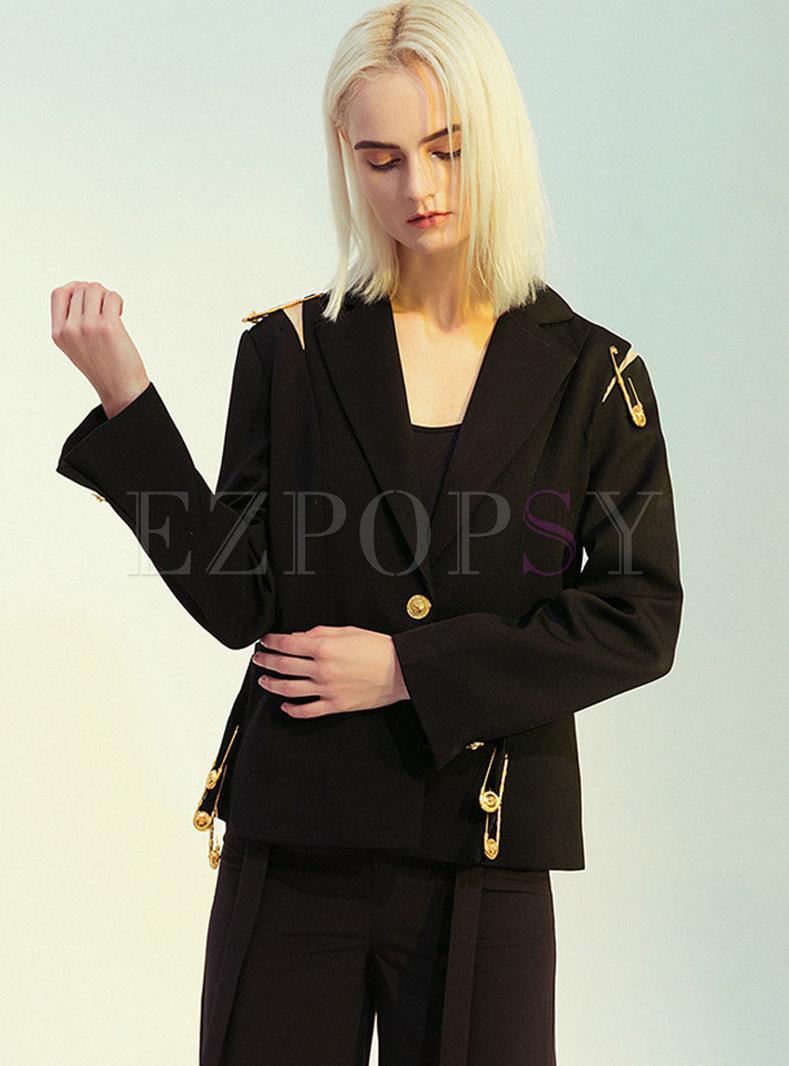 Wide Lapel Embellished Patchwork Blazer