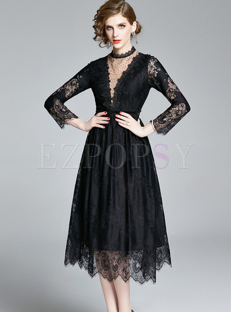 Mock Neck Patchwork Lace Midi Dress