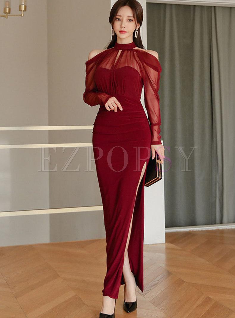 Off-the-shoulder Patchwork Sheath Maxi Dress