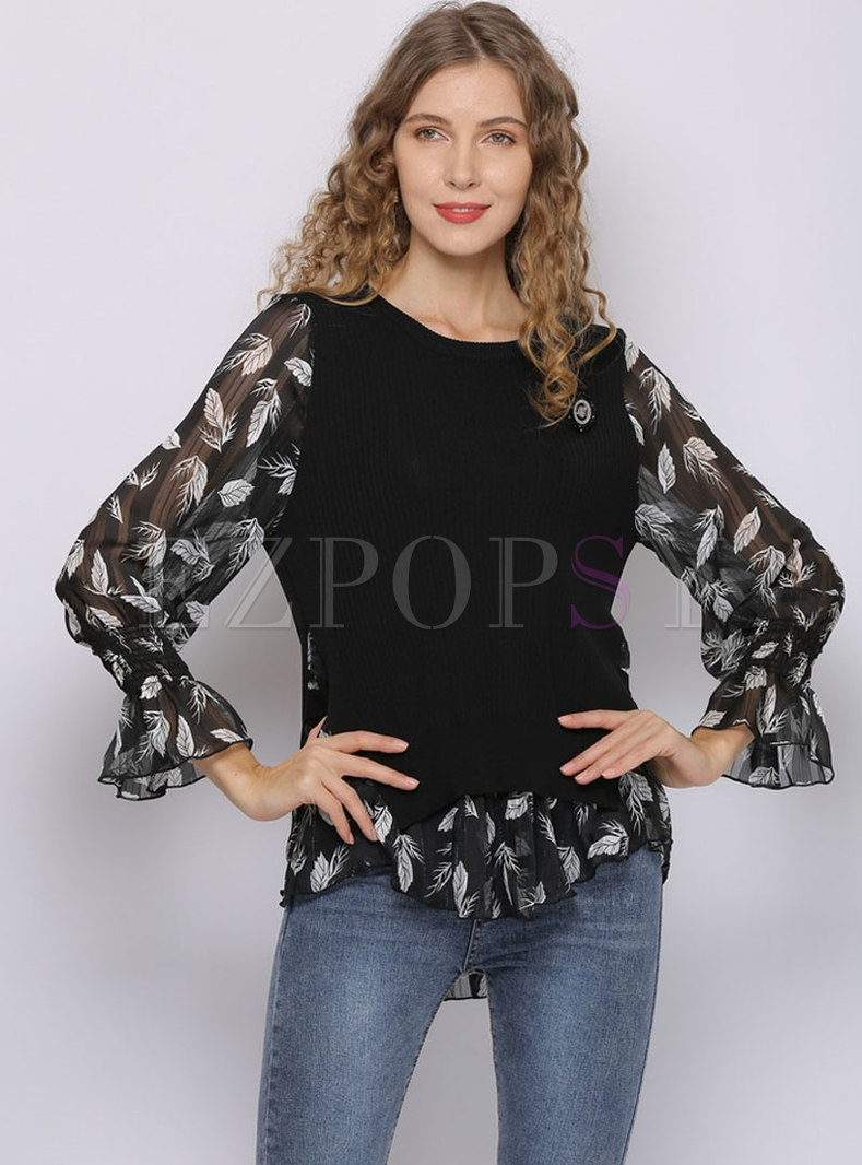 Print Flare Sleeve Patchwork Sweater