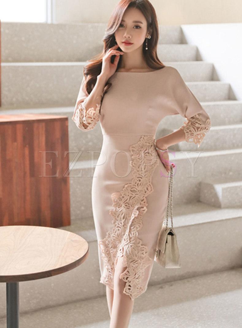 Lace Patchwork Bat Sleeve Slit Bodycon Dress