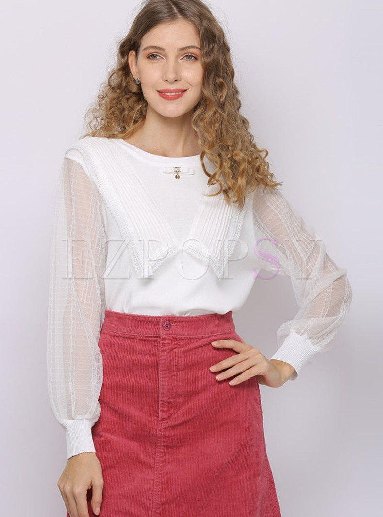 Lace Patchwork Perspective Knit Top