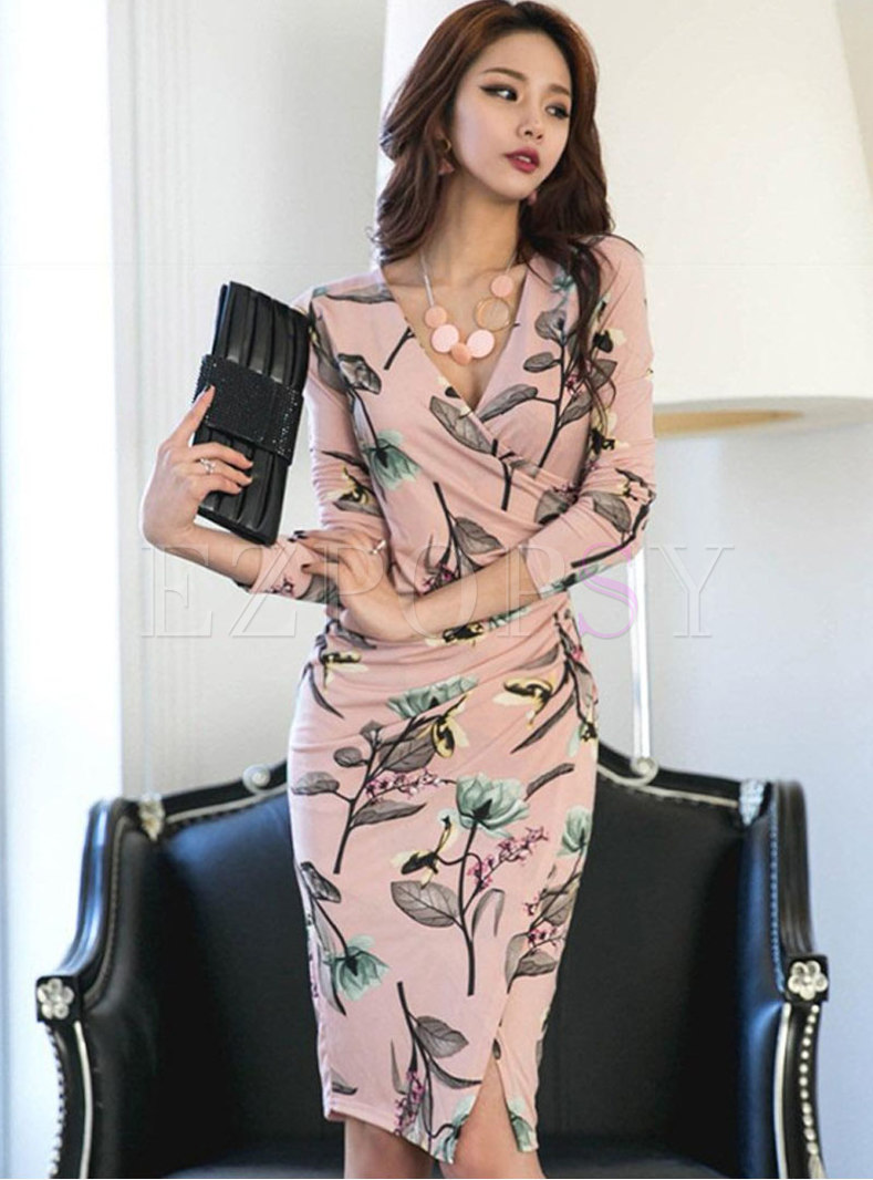 Print Cross V-neck Bodycon Dress