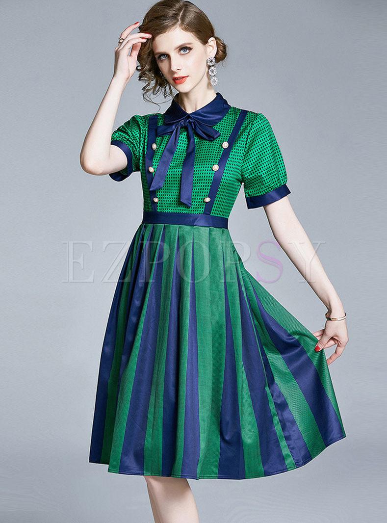 Color Block Bowknot Lapel Skater Dress