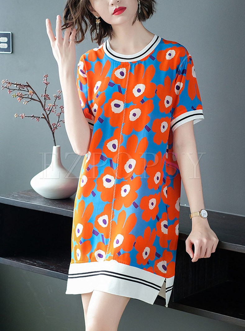 Crew Neck Print Silk Shift Mini Dress