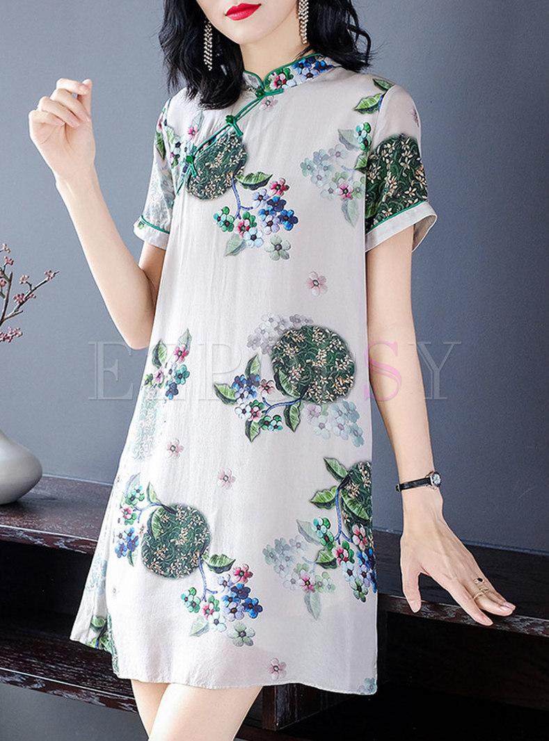 Vintage Stand Collar Print Shift Silk Dress