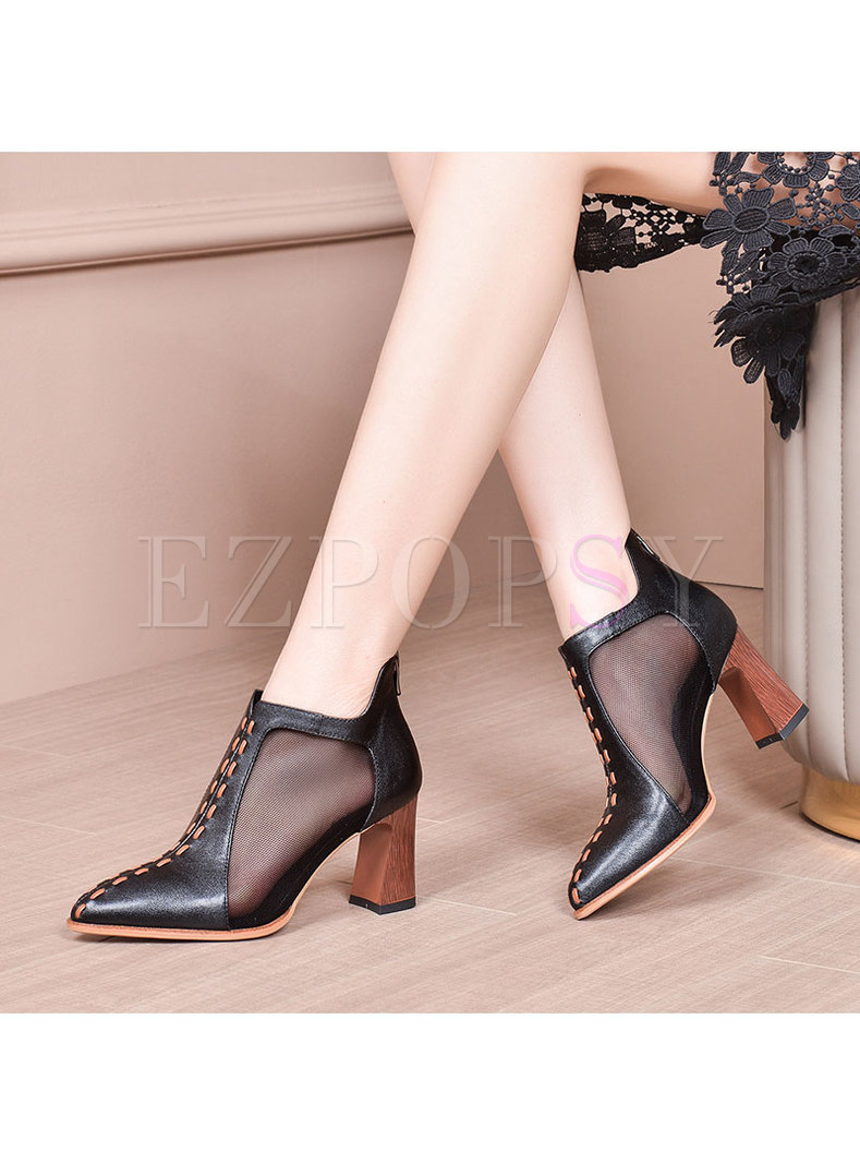 Mesh Patchwork Pointed Toe Ankle Boots