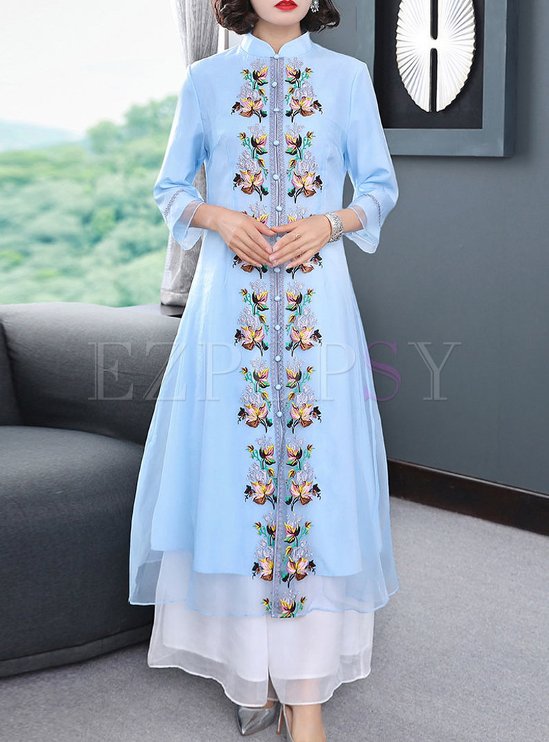 Stand Collar Embroidered Patchwork Maxi Dress