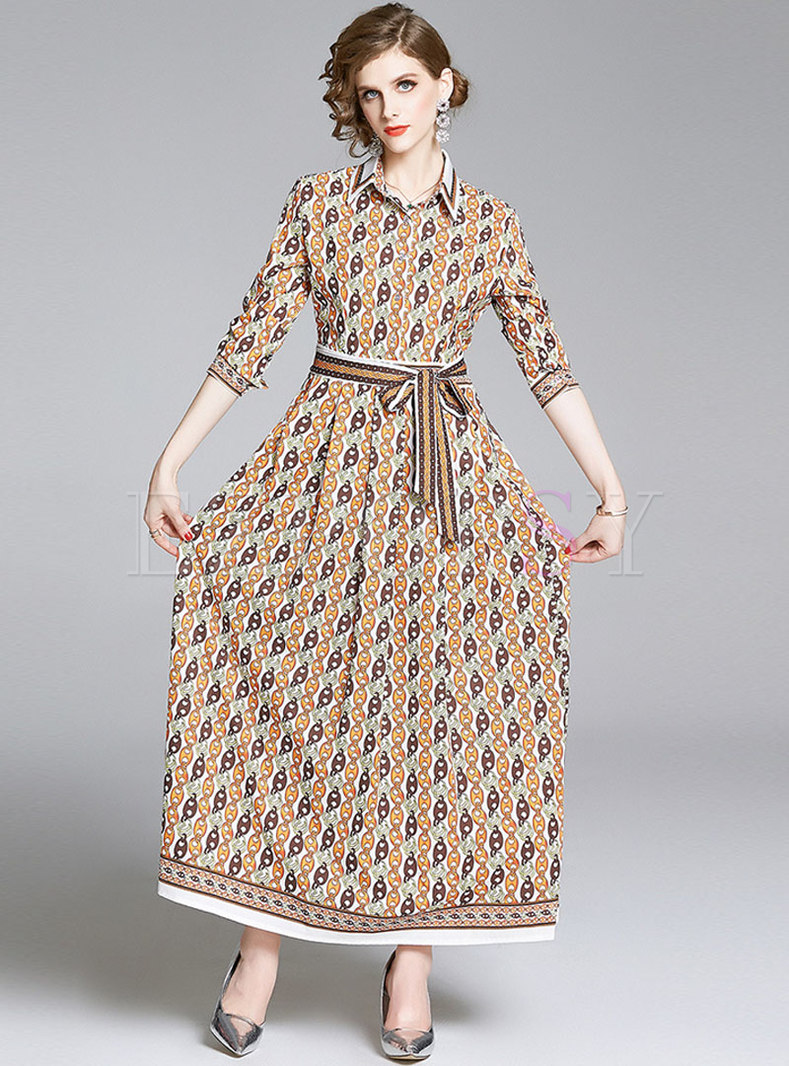 Print Bowknot Empire Waist Maxi Dress