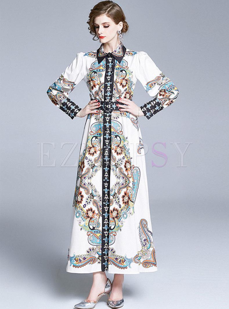 Vintage Lapel Print Slim Maxi Dress