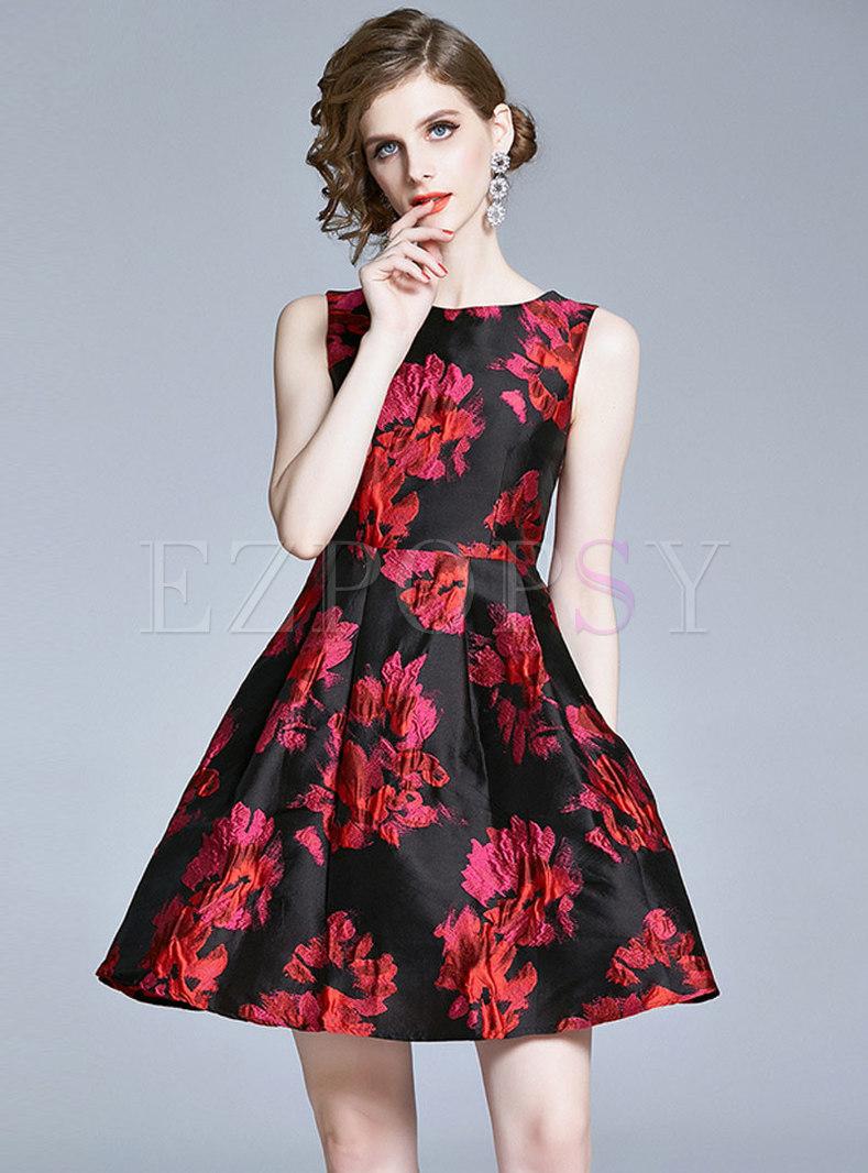 Jacquard Sleeveless Mini Skater Dress