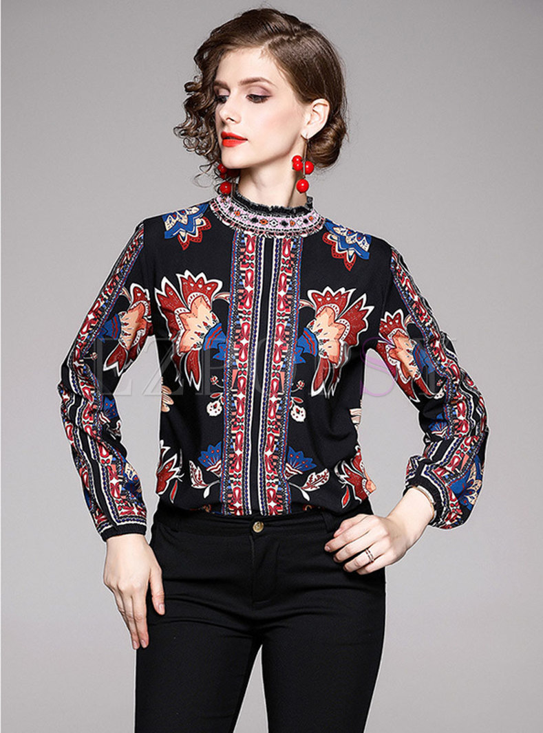 Retro Print Stand Collar Lantern Sleeve Blouse