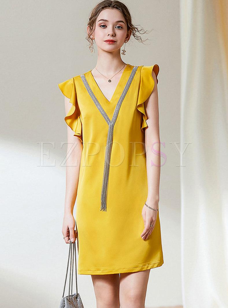V-neck Tassel Ruffle Shift Mini Dress