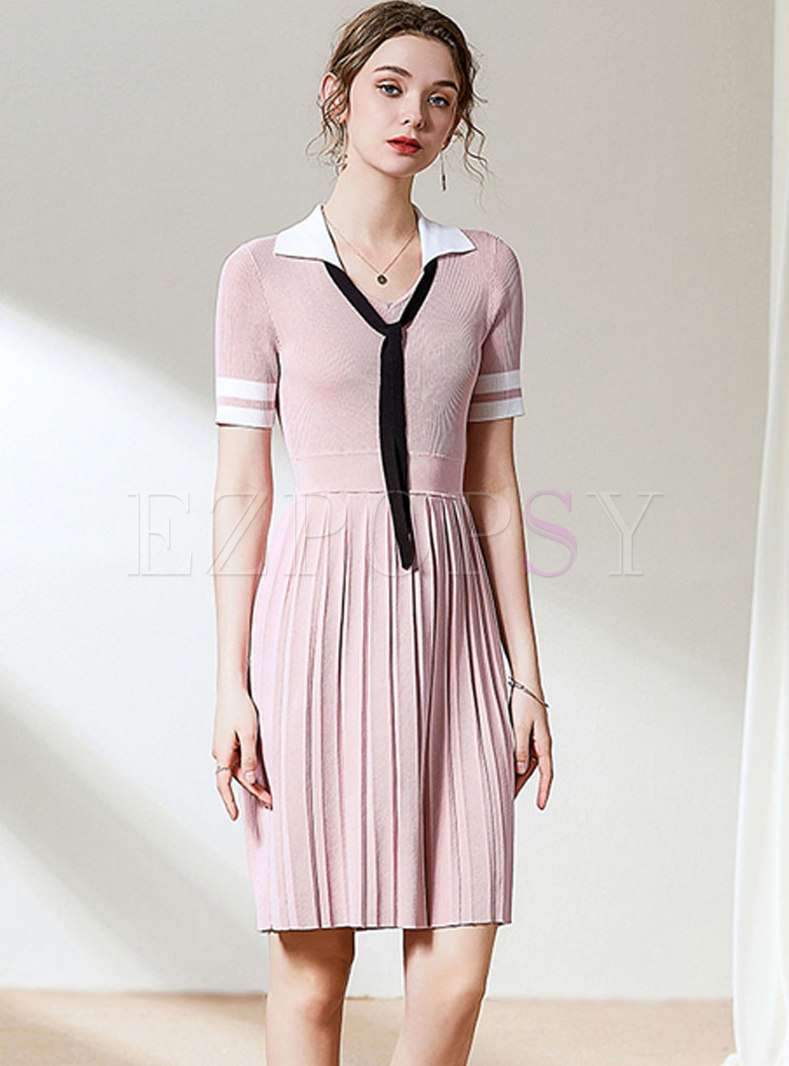 Color Block Tie Pleated Sweater Dress