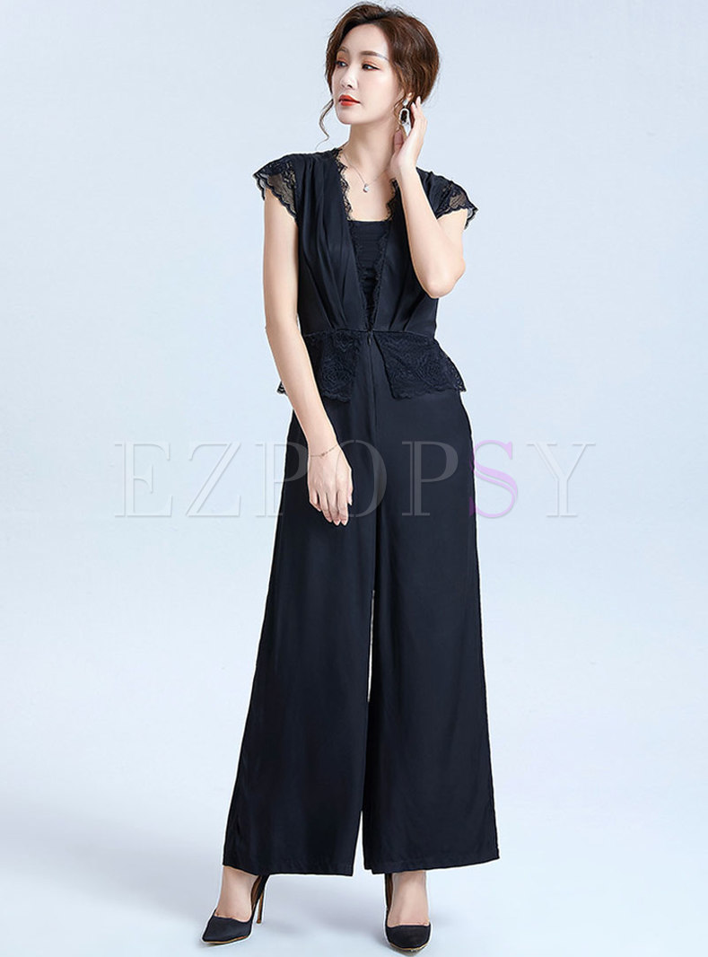 Lace Patchwork V-neck Wide Leg Jumpsuits