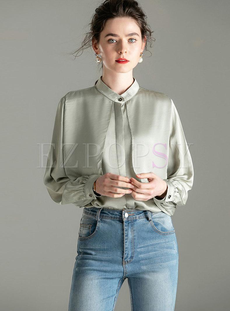 Stand Collar Patchwork Lantern Sleeve Blouse