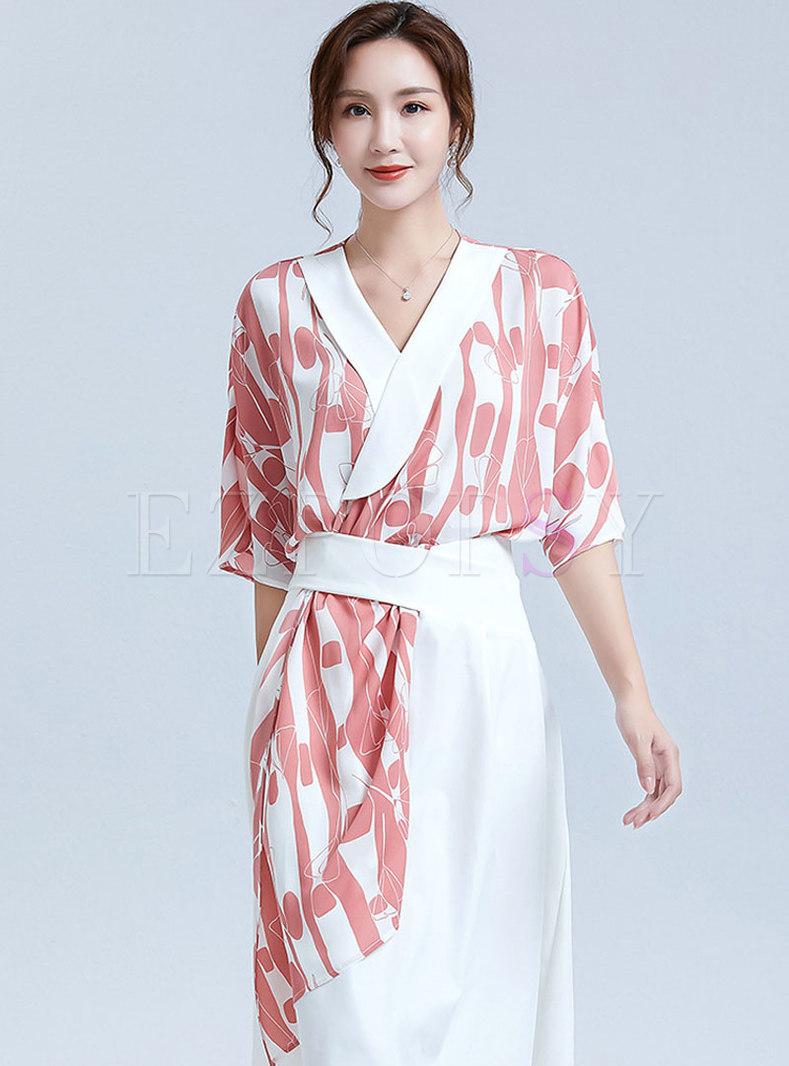 V-neck Print Asymmetric Pullover Blouse