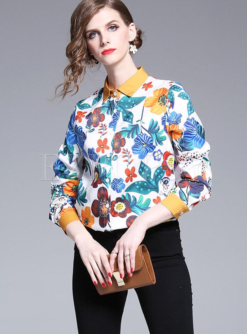 Chic Print Lapel Button-front Blouse