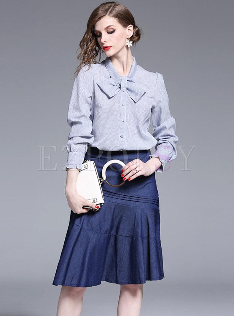 Plaid Bowknot Blouse & Ruched Peplum Skirt